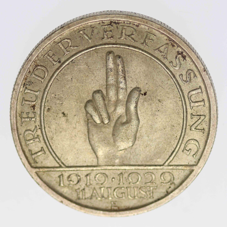 weimarer-republik-deutsche-silbermuenzen - Weimarer Republik 5 Reichsmark 1929 E Schwurhand