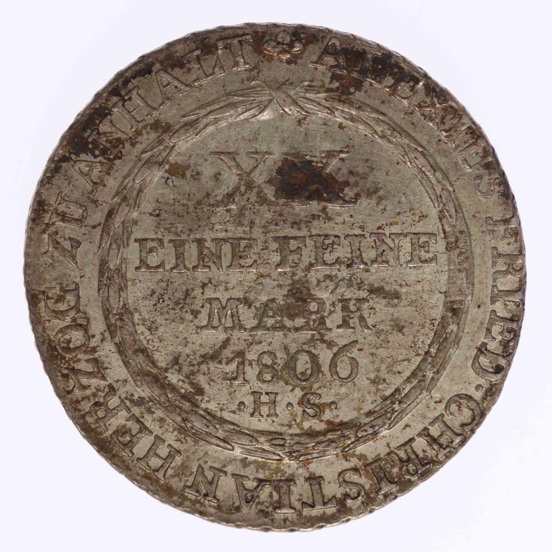 altdeutschland-deutsche-silbermuenzen - Anhalt Bernburg Alexius Friedrich Christian 2/3 Taler 1806 HS