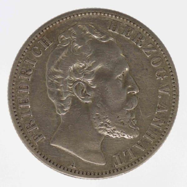 deutsches-kaiserreich-ab-1871-deutsche-silbermuenzen - Anhalt Friedrich I. 2 Mark 1876