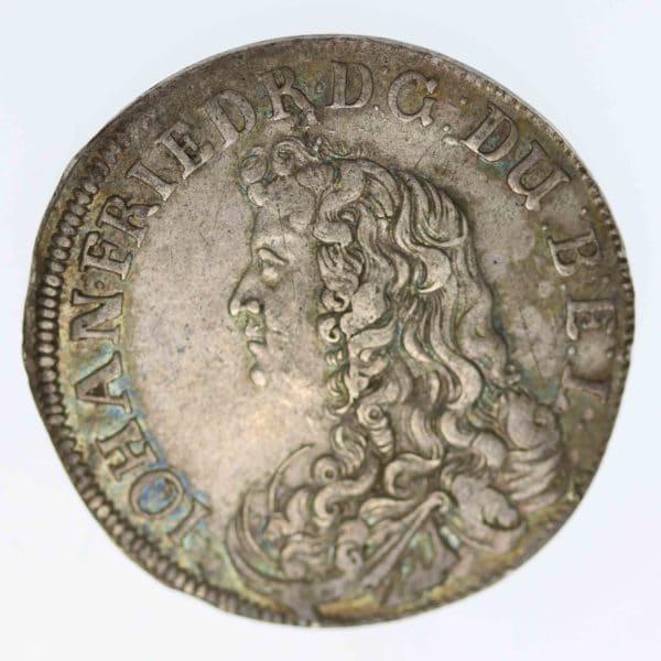 altdeutschland-deutsche-silbermuenzen - Braunschweig Calenberg Hannover Johann Friedrich 2/3 Taler 1676