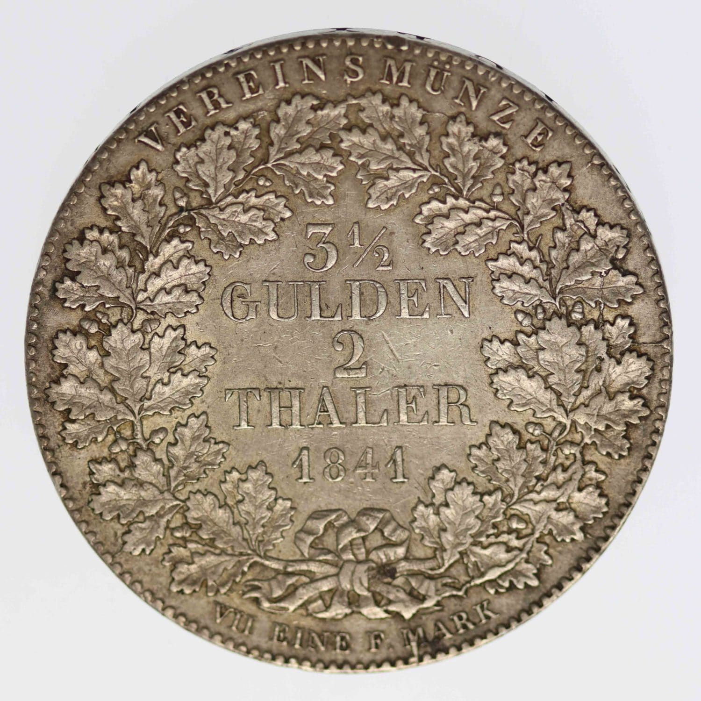 altdeutschland-deutsche-silbermuenzen - Frankfurt Stadt Vereinsdoppeltaler 1841