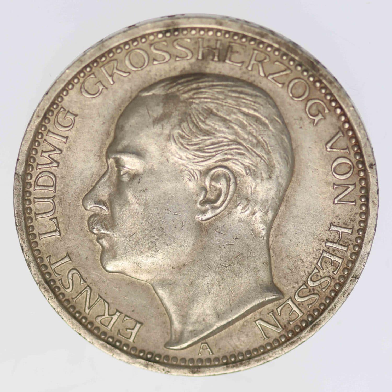 deutsches-kaiserreich-ab-1871-deutsche-silbermuenzen - Hessen Ernst Ludwig 3 Mark 1910
