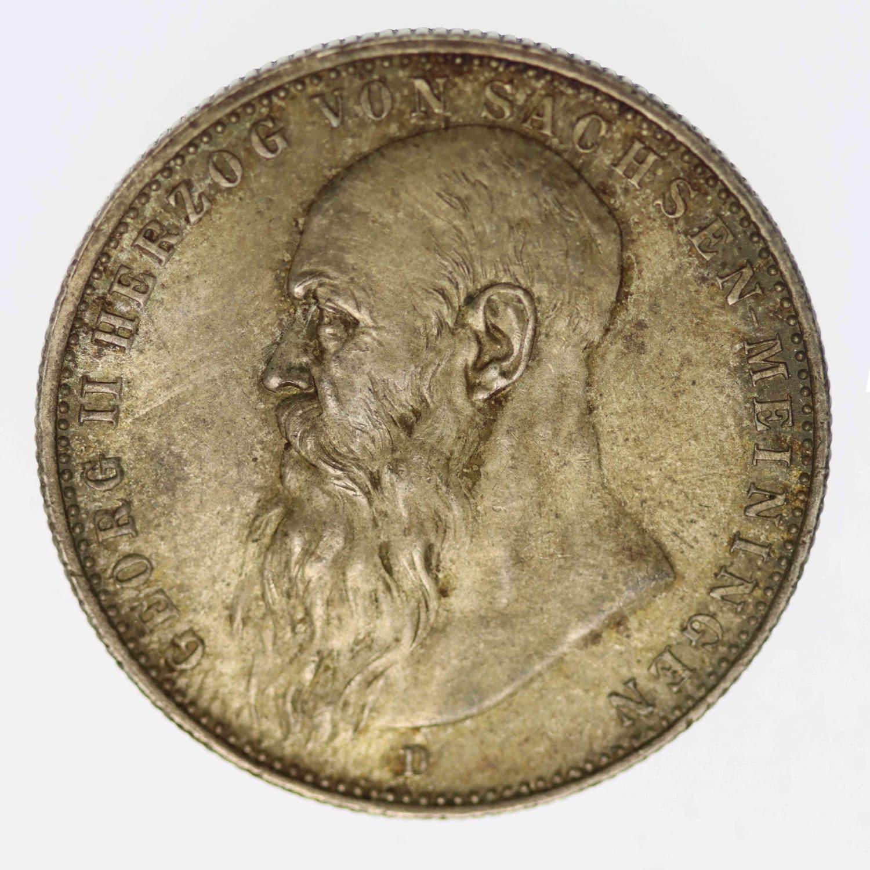 deutsches-kaiserreich-ab-1871-deutsche-silbermuenzen - Sachsen Meiningen Georg II. 2 Mark 1913