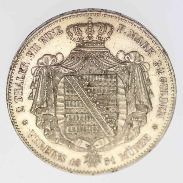 altdeutschland-deutsche-silbermuenzen - Sachsen Friedrich August II. 2 Taler 1851