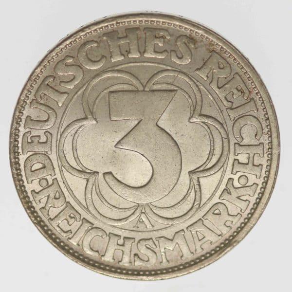 weimarer-republik-deutsche-silbermuenzen - Weimarer Republik 3 Reichsmark 1927 Nordhausen