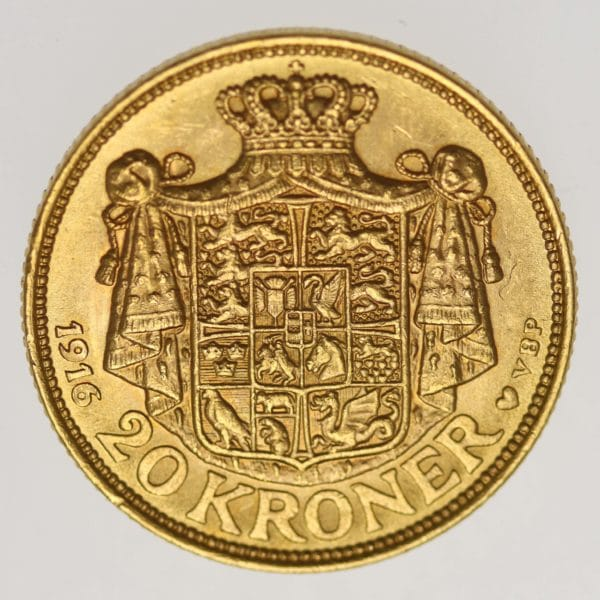 daenemark - Dänemark Christian X. 20 Kronen1916
