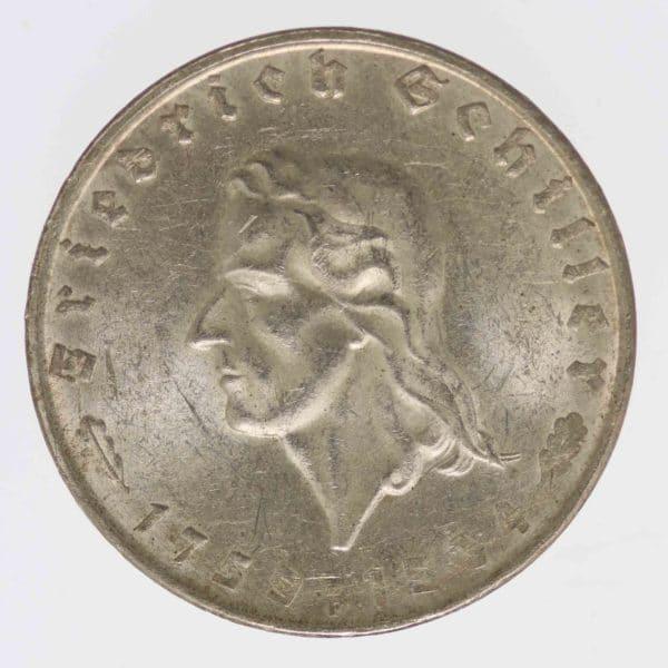 drittes-reich-deutsche-silbermuenzen - Drittes Reich 2 Reichsmark 1934 von Schiller