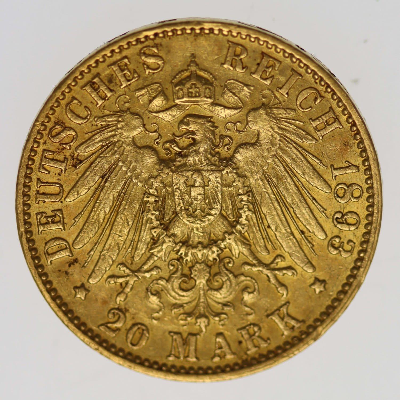 deutsches-kaiserreich-ab-1871 - Hamburg Stadtwappen 20 Mark 1893