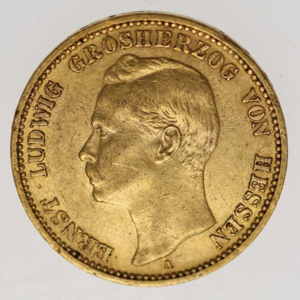 deutsches-kaiserreich-ab-1871 - Hessen Ernst Ludwig 20 Mark 1898