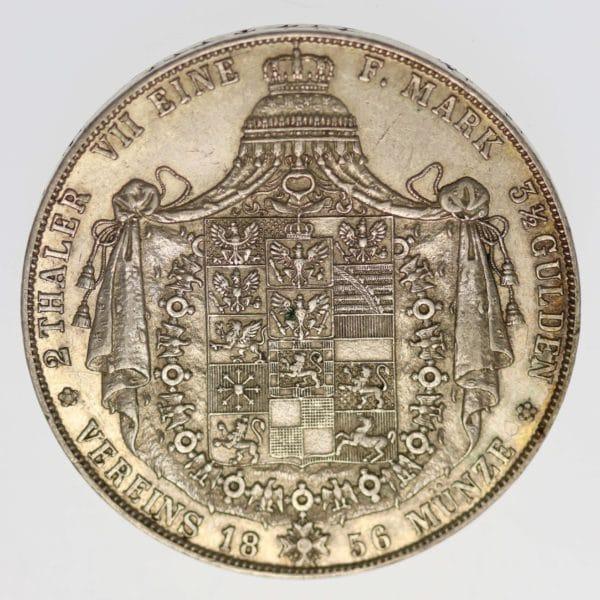 altdeutschland-deutsche-silbermuenzen - Preussen Friedrich Wilhelm IV. Doppeltaler 1856