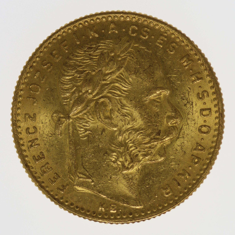 ungarn, oesterreich - Österreich Kaiserreich Franz Joseph I. 8 Forint 1889 K.B.