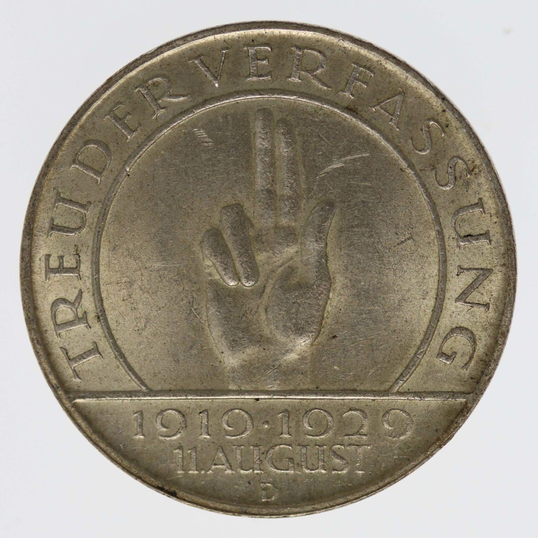 weimarer-republik-deutsche-silbermuenzen - Weimarer Republik 3 Reichsmark 1929 D Schwurhand