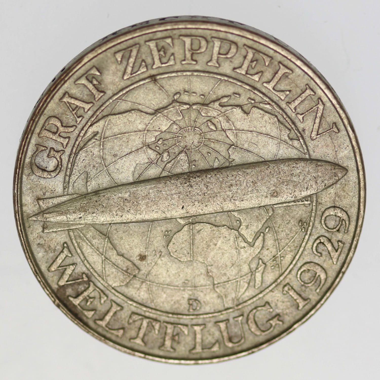 weimarer-republik-deutsche-silbermuenzen - Weimarer Republik 3 Reichsmark 1930 D Zeppelin