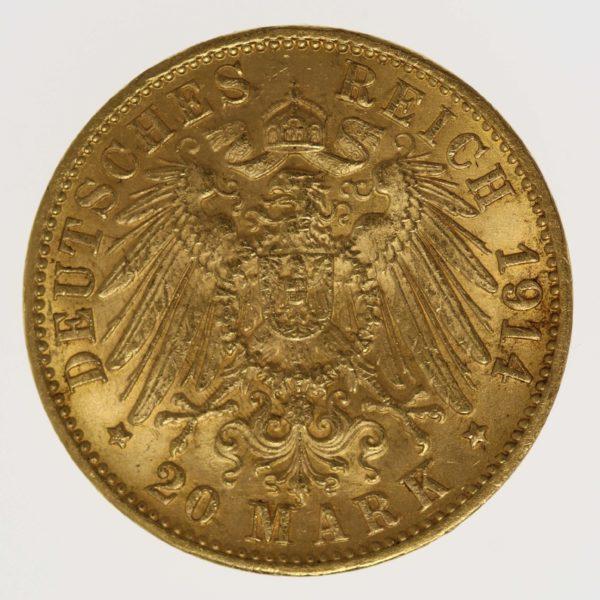 deutsches-kaiserreich-ab-1871 - Baden Friedrich II. 20 Mark 1914