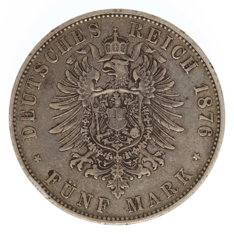 deutsches-kaiserreich-ab-1871-deutsche-silbermuenzen - Bayern Ludwig II. 5 Mark 1876