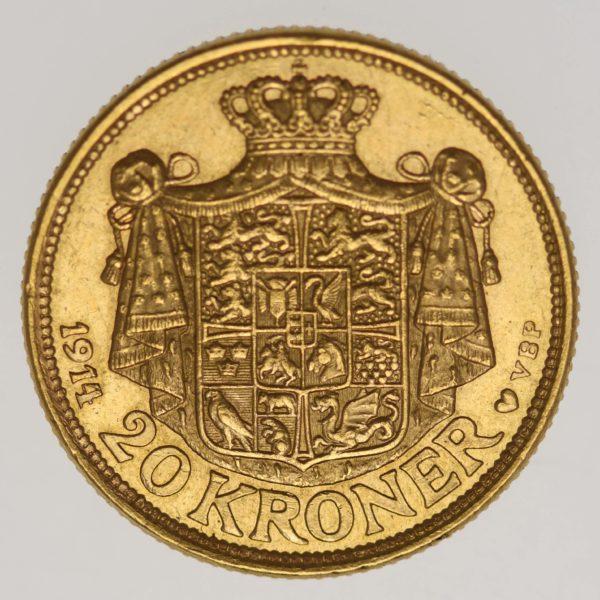 daenemark - Dänemark Christian X. 20 Kronen1914