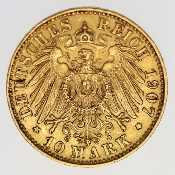 deutsches-kaiserreich-ab-1871 - Sachsen Friedrich August 10 Mark 1907