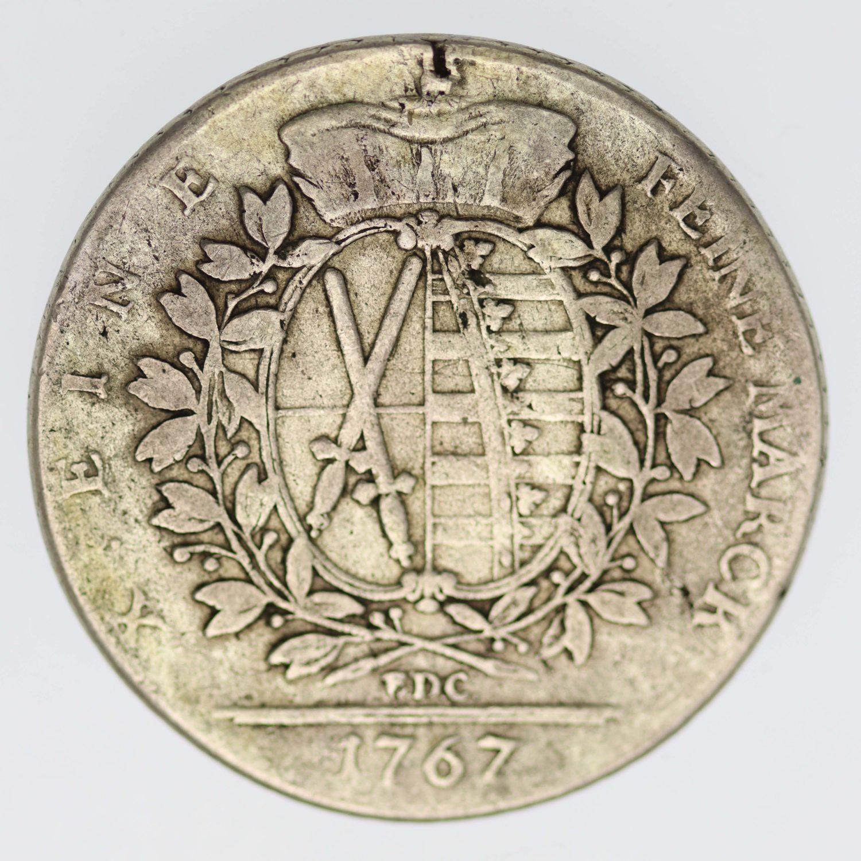 altdeutschland-deutsche-silbermuenzen - Sachsen Friedrich August III. Taler 1767 E.D.C.