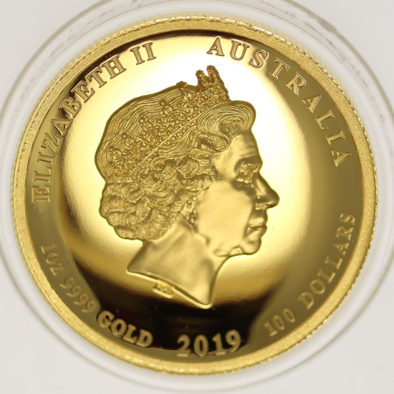 australien - Australien Elisabeth II. 100 Dollars 2019 Lunar III. Year of the Pig High Relief