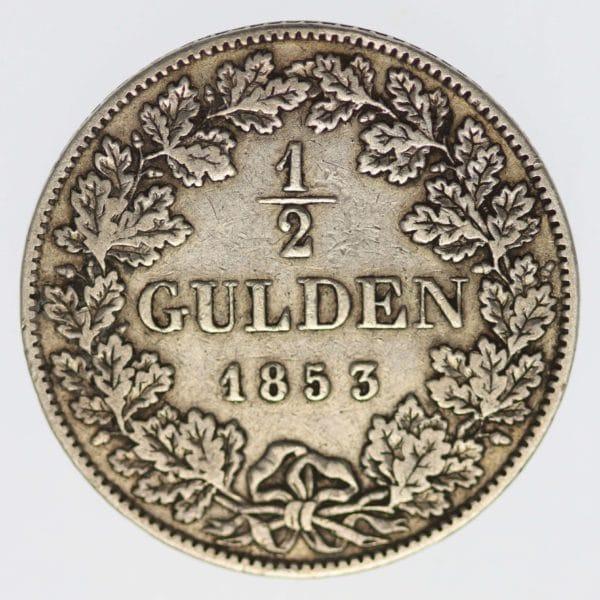 altdeutschland-deutsche-silbermuenzen - Bayern Maximilian II. Joseph 1/2 Gulden 1853