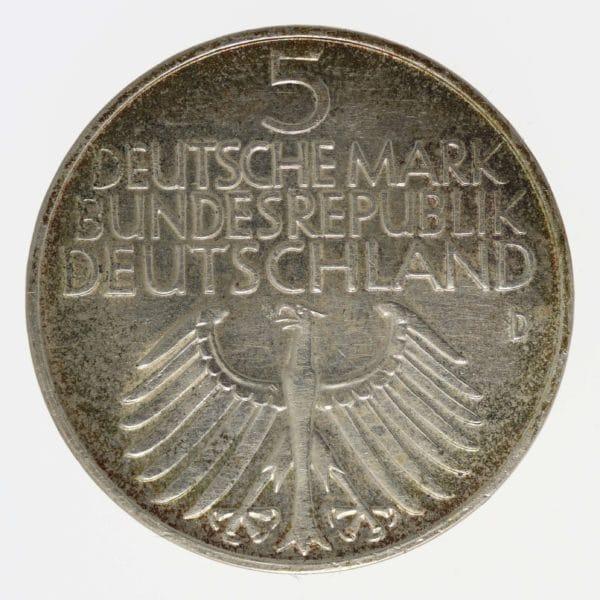 brd-deutsche-silbermuenzen - BRD 5 Mark 1952 - 1964