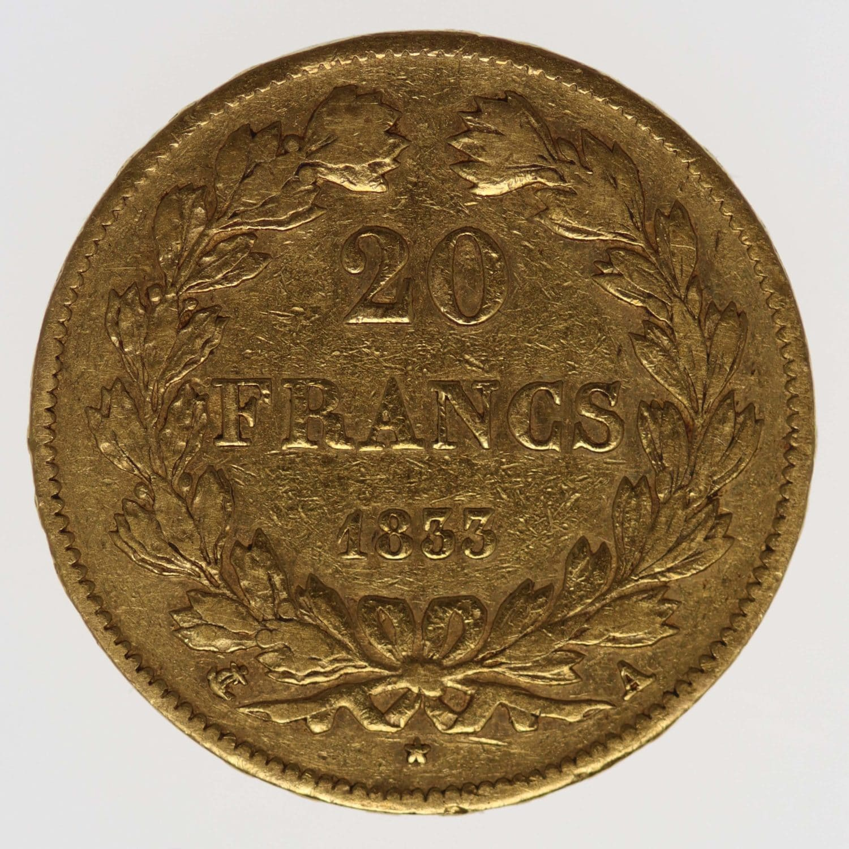frankreich - Frankreich Louis Philippe I. 20 Francs 1833 A