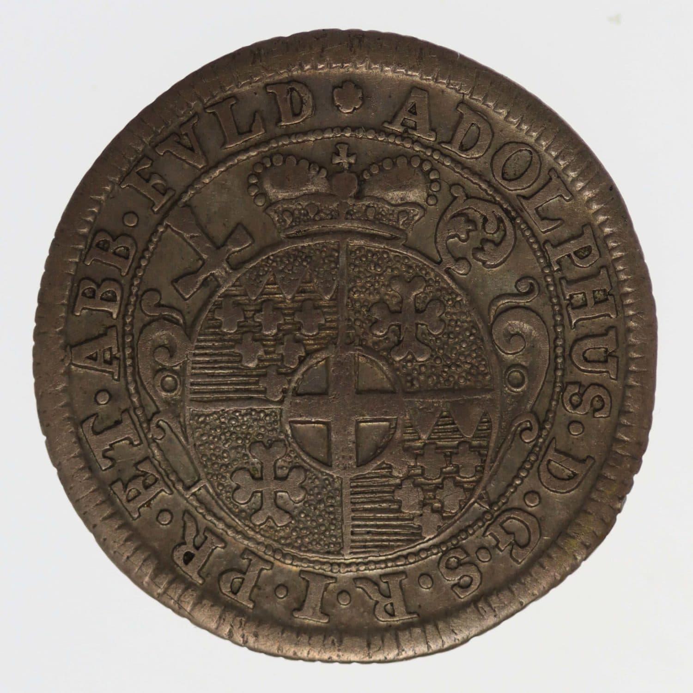 altdeutschland-deutsche-silbermuenzen - Fulda Adolph von Dahlberg 1/2 Kopfstück 1727