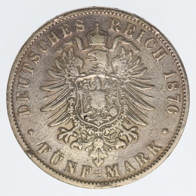deutsches-kaiserreich-ab-1871-deutsche-silbermuenzen - Hessen Ludwig III. 5 Mark 1876