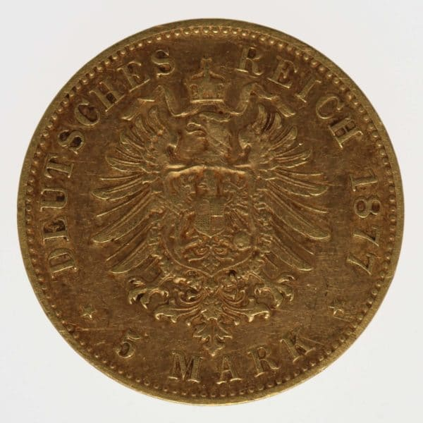 deutsches-kaiserreich-ab-1871 - Sachsen Albert 5 Mark 1877