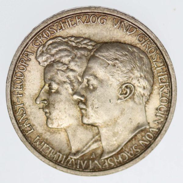 deutsches-kaiserreich-ab-1871-deutsche-silbermuenzen - Sachsen Weimar Eisenach Wilhelm Ernst 3 Mark 1910