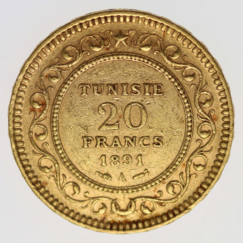 tunesien - Tunesien Ali Bey 20 Francs 1891