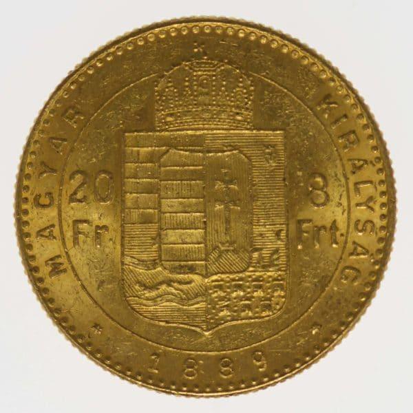 ungarn, oesterreich - Österreich Kaiserreich Franz Joseph I. 8 Forint 1889 KB