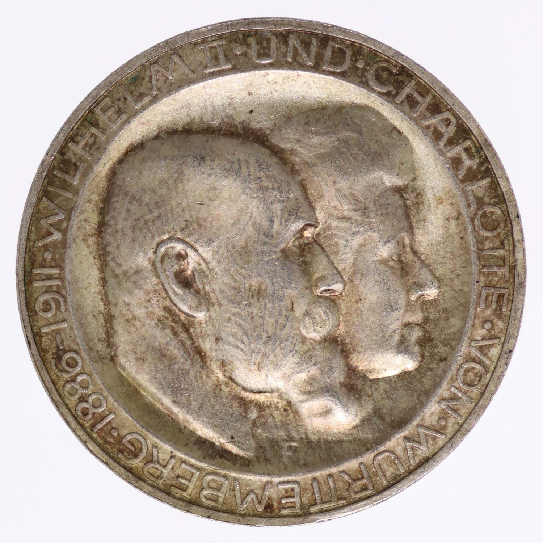 deutsches-kaiserreich-ab-1871-deutsche-silbermuenzen - Württemberg Wilhelm II. 3 Mark 1911