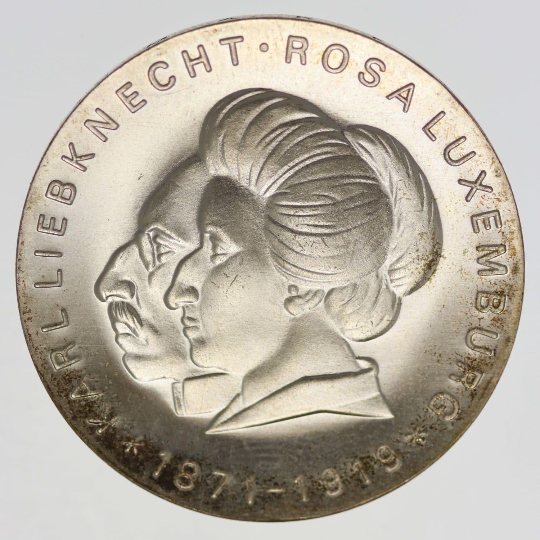 ddr-deutsche-silbermuenzen - DDR 20 Mark 1971 Luxemburg Liebknecht