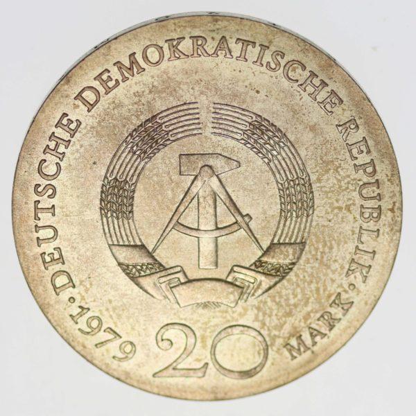 ddr-deutsche-silbermuenzen - DDR 20 Mark 1979 Lessing