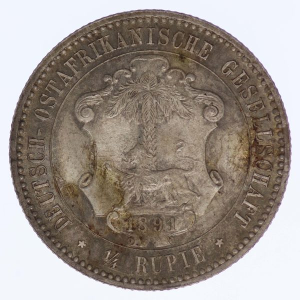 deutsche-kolonien-deutsche-silbermuenzen - Deutsch Ostafrika Wilhelm II. 1/4 Rupie 1891