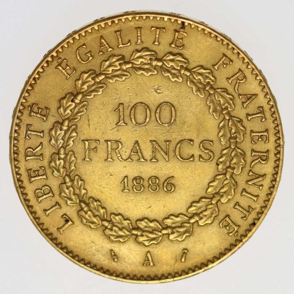 frankreich - Frankreich 100 Francs 1886 A