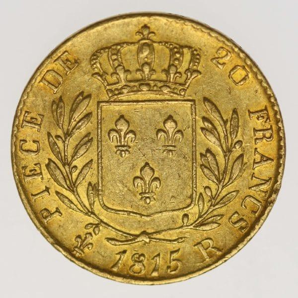 frankreich - Frankreich Louis XVIII. 20 Francs 1815 R