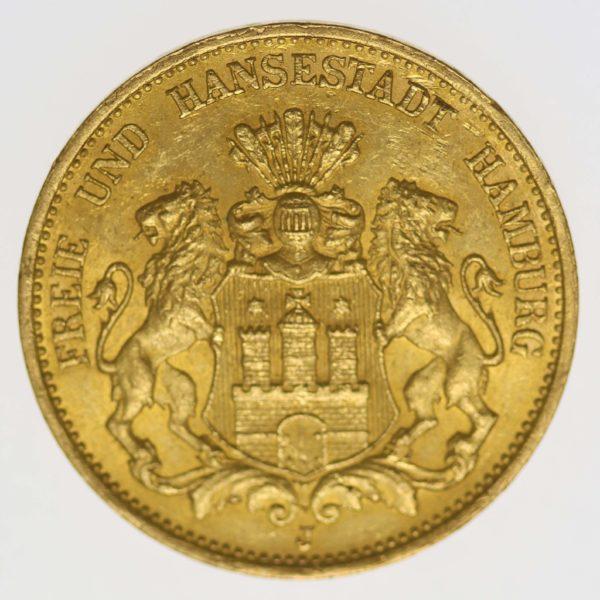 deutsches-kaiserreich-ab-1871 - Hamburg Stadtwappen 20 Mark 1899