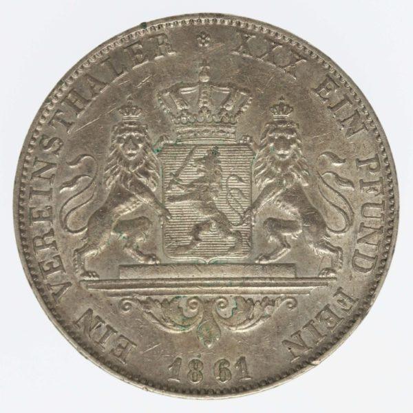 altdeutschland-deutsche-silbermuenzen - Hessen Darmstadt Ludwig III. Vereinstaler 1861
