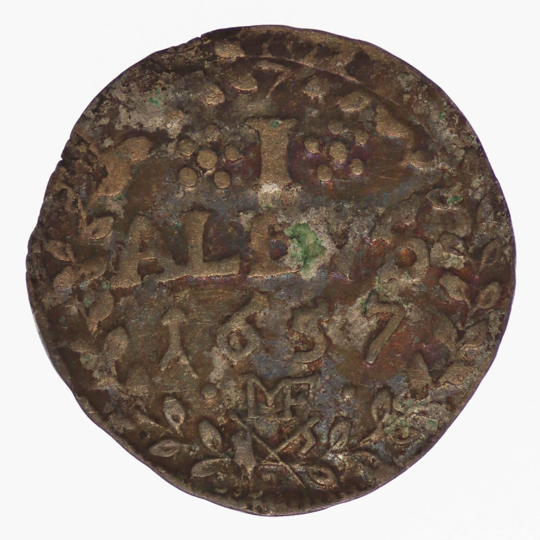 altdeutschland-deutsche-silbermuenzen - Mainz Johann Philipp von Schönborn 1 Albus 1657