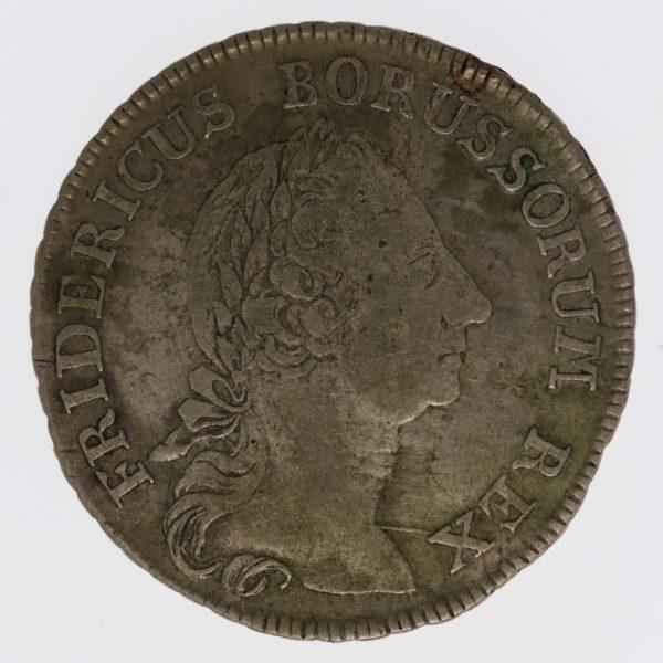 altdeutschland-deutsche-silbermuenzen - Preussen Friedrich II. 1/4 Taler 1764 F