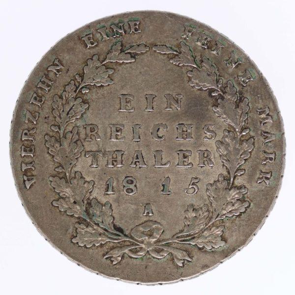 altdeutschland-deutsche-silbermuenzen - Preussen Friedrich Wilhelm III. Taler 1815 A