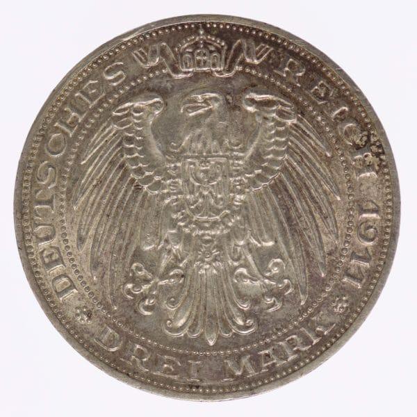 deutsches-kaiserreich-ab-1871-deutsche-silbermuenzen - Preussen Wilhelm II. 3 Mark 1911
