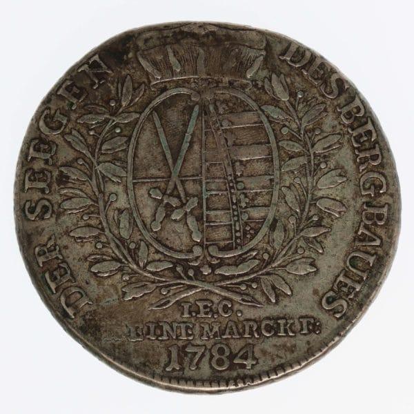 altdeutschland-deutsche-silbermuenzen - Sachsen Friedrich August III. Taler 1784 I.E.C.