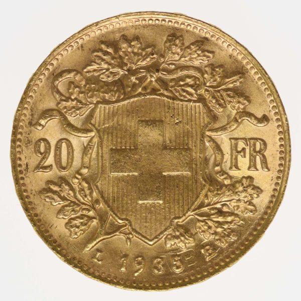 schweiz - Schweiz 20 Franken 1935 LB Vreneli Stempeldurchschlag