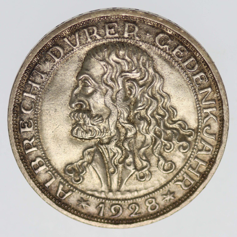 weimarer-republik-deutsche-silbermuenzen - Weimarer Republik 3 Reichsmark 1928 Dürer