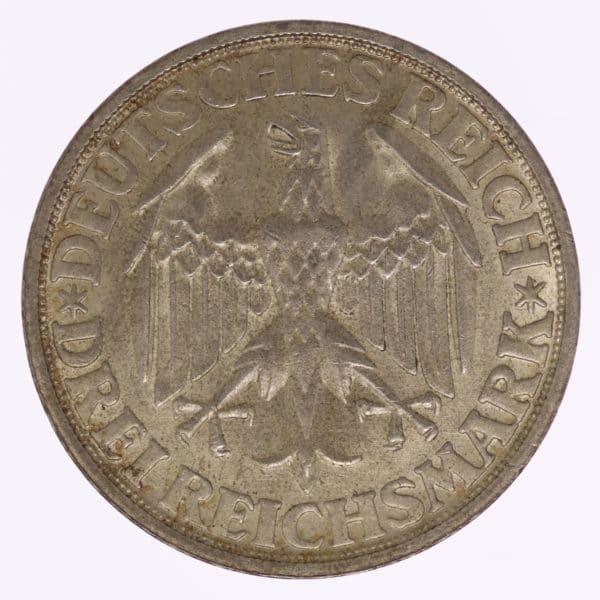 weimarer-republik-deutsche-silbermuenzen - Weimarer Republik 3 Reichsmark 1928 Dinkelsbühl