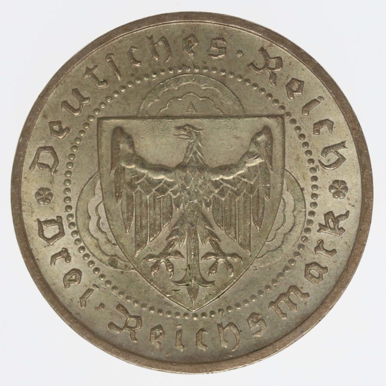 weimarer-republik-deutsche-silbermuenzen - Weimarer Republik 3 Reichsmark 1930 A Vogelweide