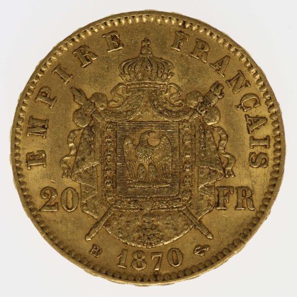 frankreich - Frankreich Napoleon III. 20 Francs 1870 BB